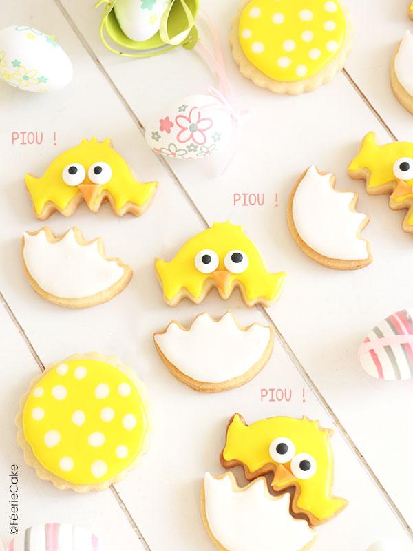 Des petits biscuits sablés : poussins dans leur coquille