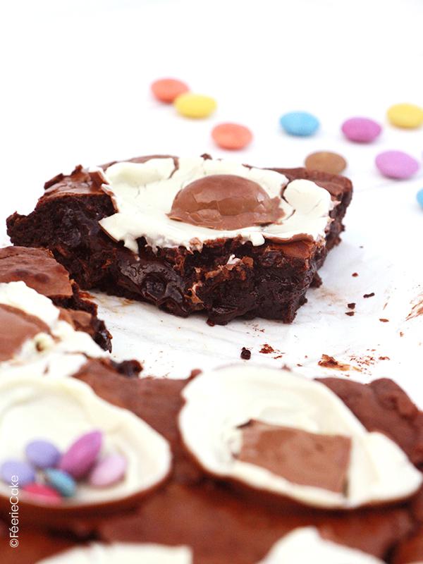 Recette du brownie de pâques : brownie au chocolat, pralinés feuillantine