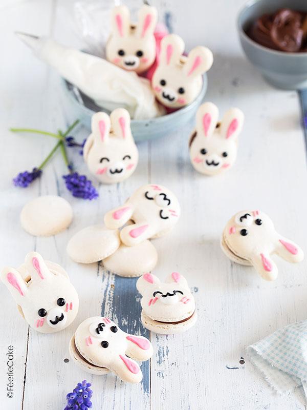 Des petites macarons tout mignons en forme de lapins