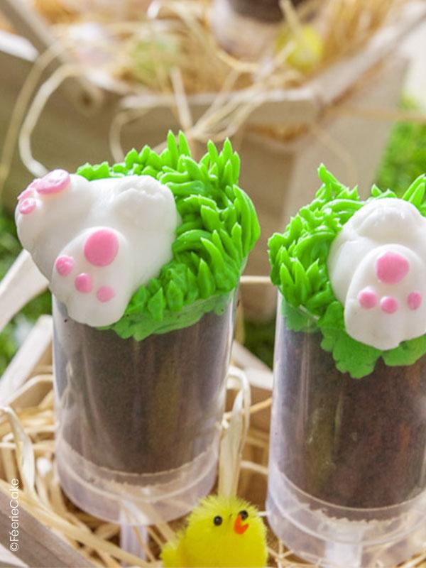 Les push-up cake de Pâques : muffins et glaçage vert