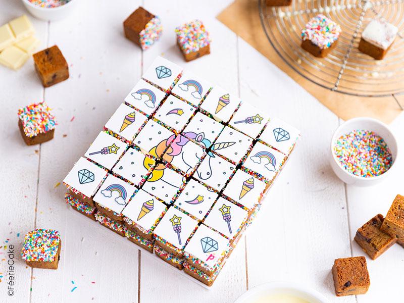 Recette du gâteau cookies cubes thème Licorne