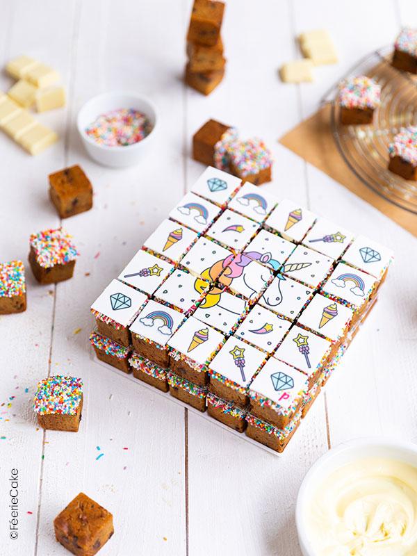 Gâteau cookies cubes décoration Licorne