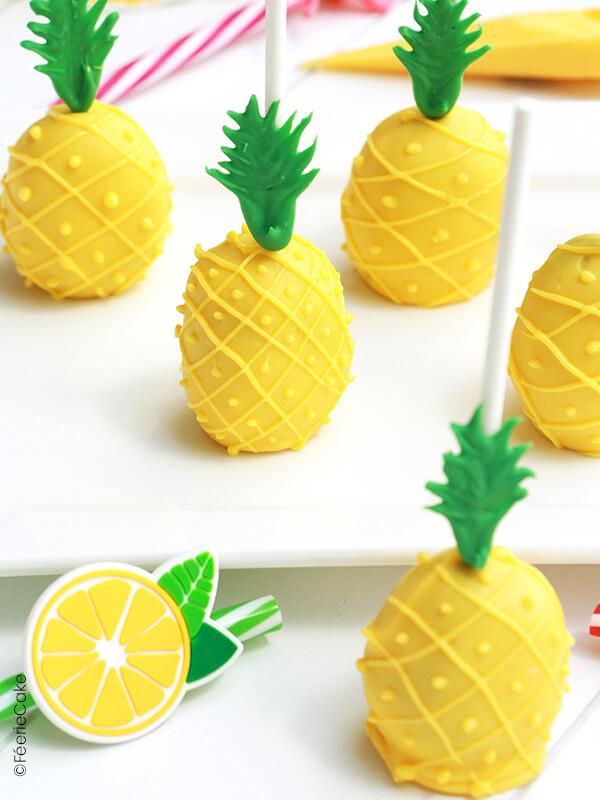 Cake pops en forme d'ananas