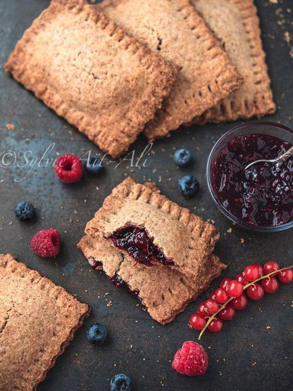 Biscuits au cœur coulant à la purée de fruits rouges