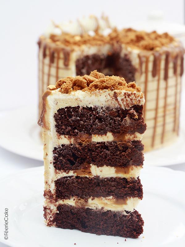 layer cake speculoos ganache chocolat blanc caramel
