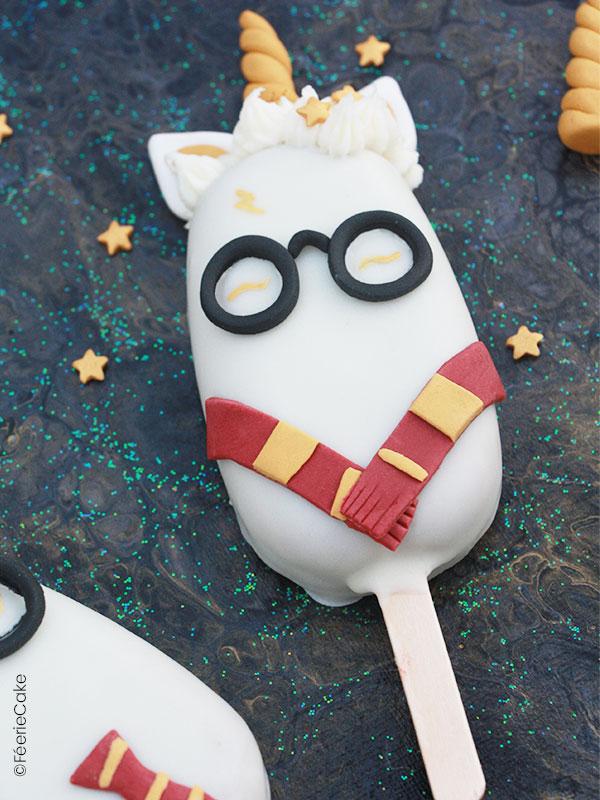 Recette des cakes pops Harry Potter Licorne réalisés en pâte à sucre