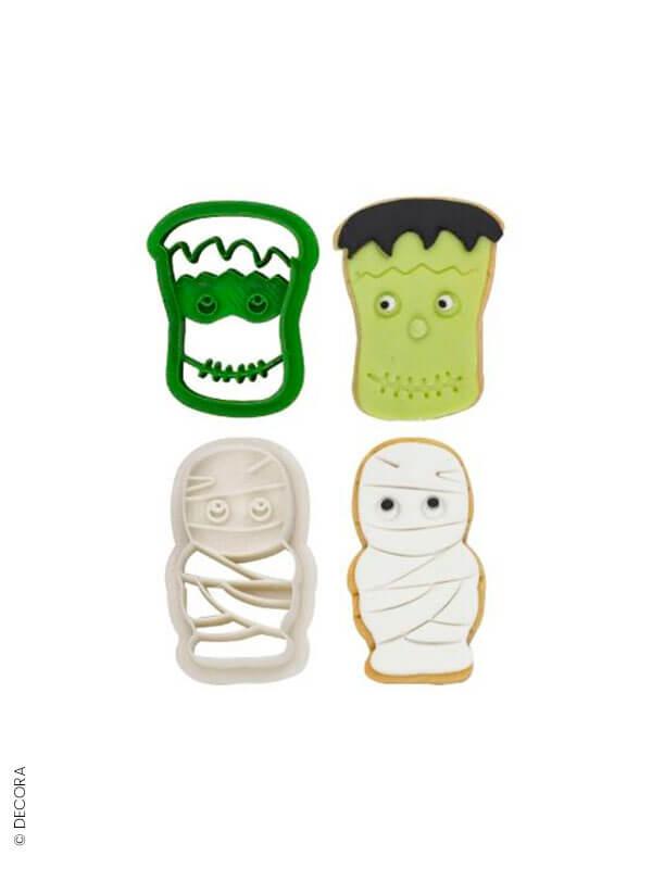 Lot de 2 emporte-pièces Frankenstein et sa copine la Momie