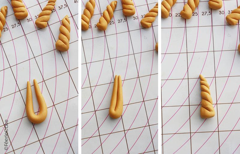 Modelage de corne de licorne pour la recette des cake pops Harry Potter
