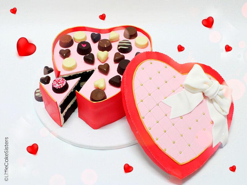 Candy cake box de la Saint-Valentin réalisé par Little Cake Sisters