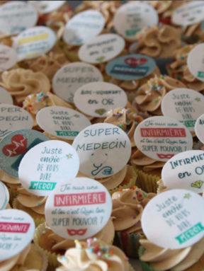 Little Cake Sisters offre des cupcakes au personnel soignant
