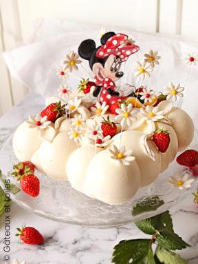 Gâteau nuage chocolat blanc et fraises