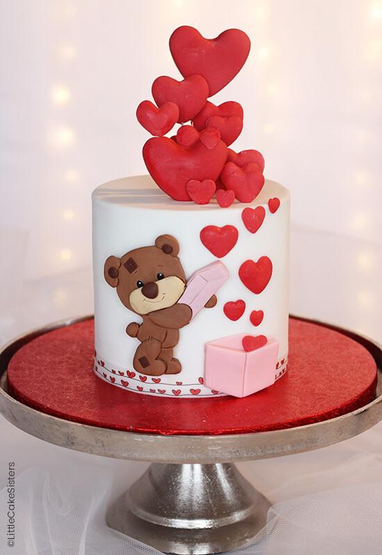 """gâteau """"L'ourson de la Saint Valentin"""" titre"""