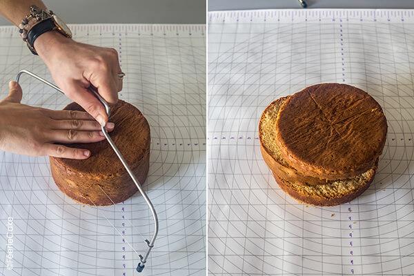 Découpe du gâteau avec le découpe génoise