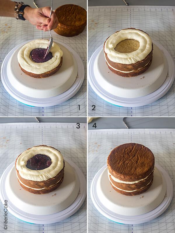 Garnissage des tranches de gâteaux avec de la crème