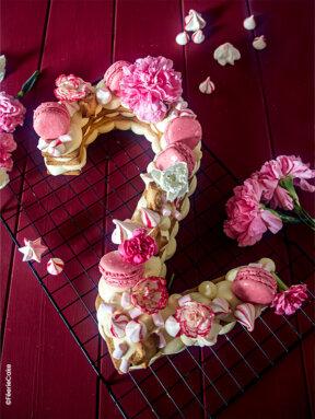 Number cake – biscuit et crème diplomate